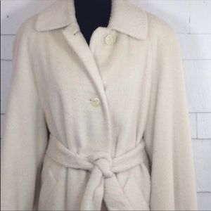Ivory Wool Belted Winter Coat